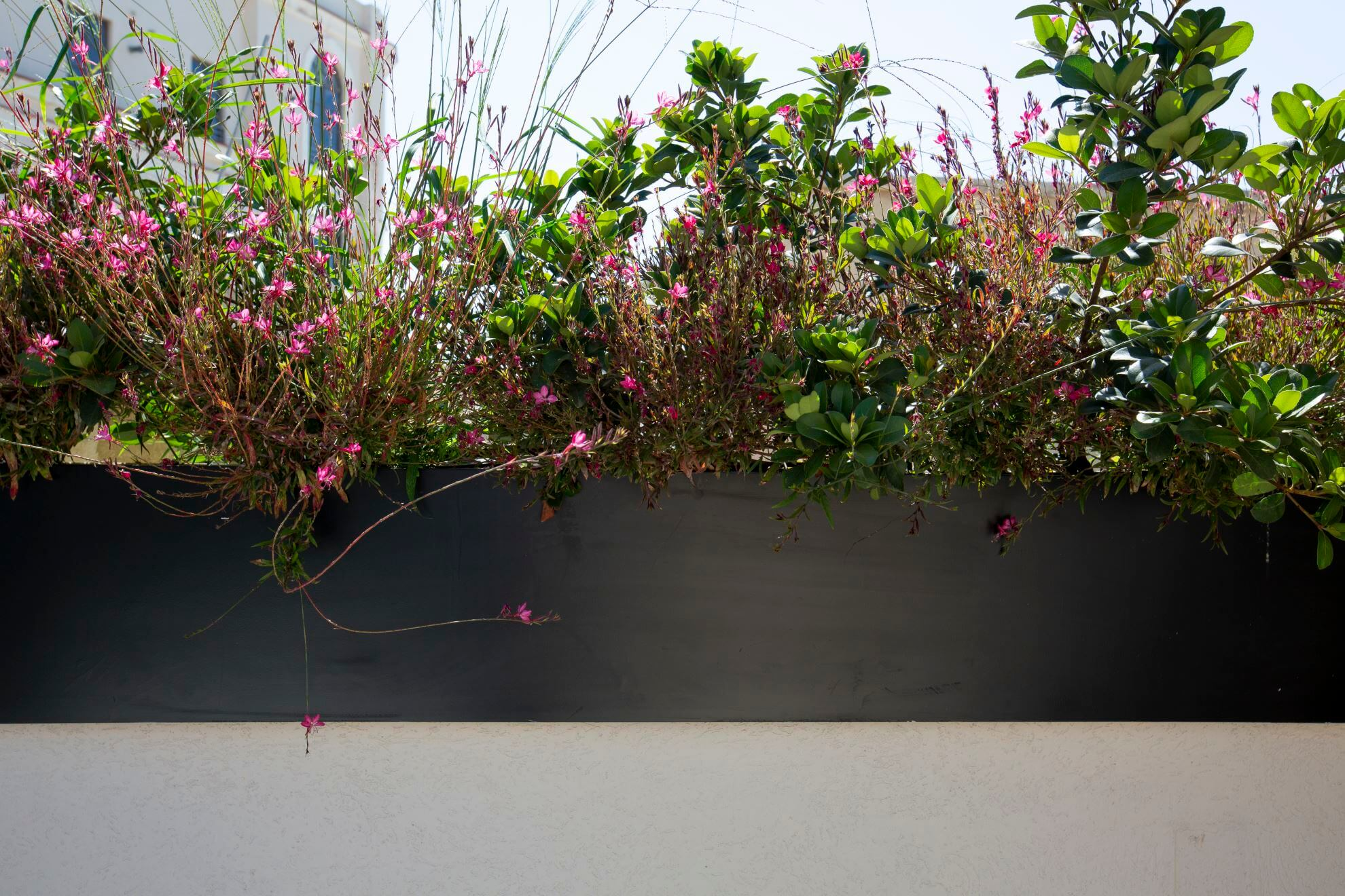 אדניות מתכת במרפסת בגימור אלגנטי